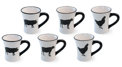 Pig Chicken Cow Ceramic Mug Set of 6